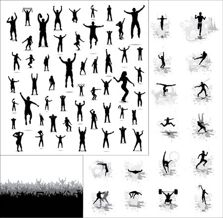 crowd happy people: Silhouettes of athletes and posters of happy fans