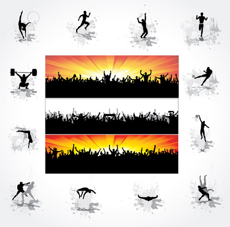 football silhouette: Silhouettes of athletes and posters of happy fans