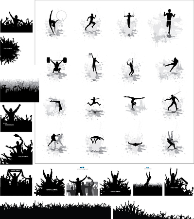 athletes: Silhouettes of athletes and posters of happy fans