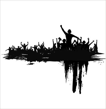 alzando la mano: Nube de la multitud