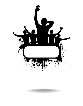 Silhouettes and posters with cheering people Vetores