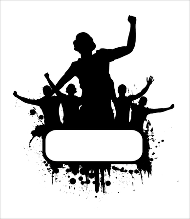 Silhouettes and posters with cheering people