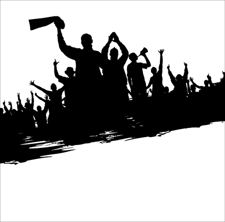 a group of people protesting: Banner for sporting events and concerts