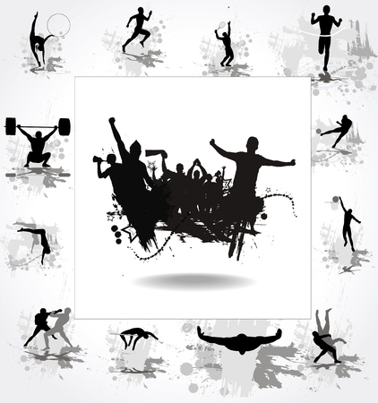 athletes: Silhouettes of athletes and posters with cheering fans Illustration