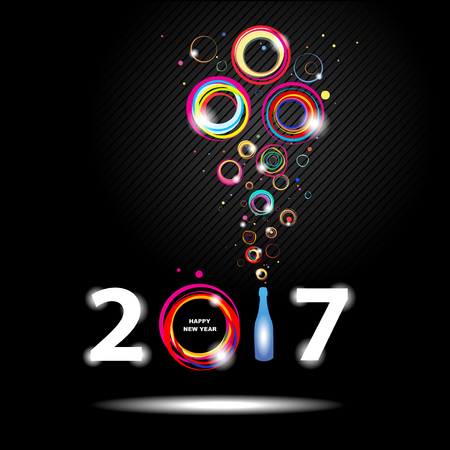 champagne: New year 2017 in black background. Abstract poster