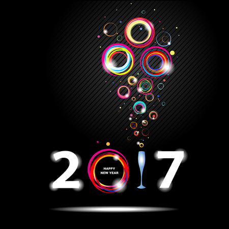 glamor: New year 2017 in black background. Abstract poster