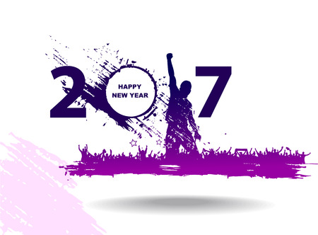 white people: New year 2017 in white background. Abstract poster