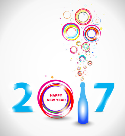 christmas drink: New year 2017 in white background. Abstract poster