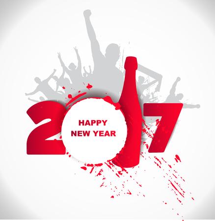 Nouvel an 2017. Heureux et les gens éméchés