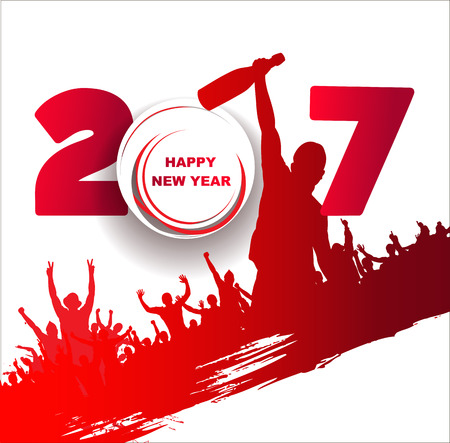 crowd happy people: New year 2017. Abstract poster Illustration