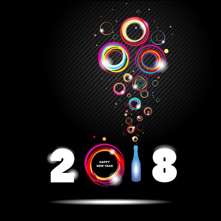 幸せな新しい年 2018 年。抽象的なポスター