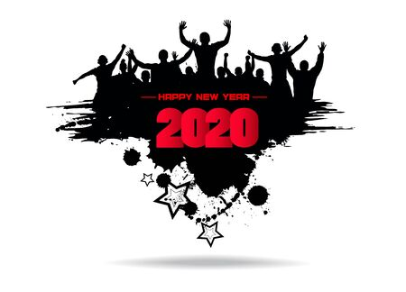 New year 2020. Clouds from the crowd