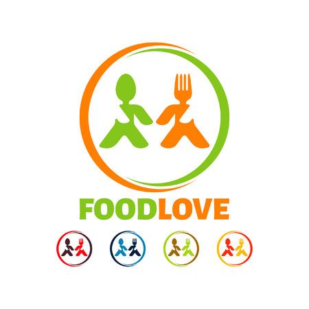 Food love logo, kitchen logo, fork spoon logo, eating logo