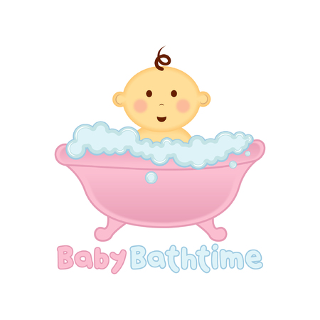 bath: Baby Bath time Logo template, Baby bathing vector illustration
