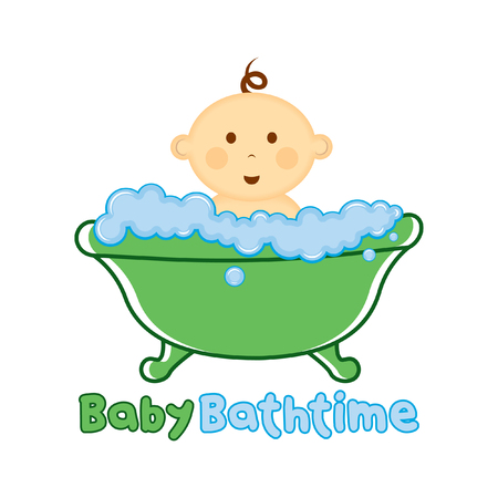 Baby Bath time Logo template, Baby bathing vector illustration, Baby shower time logo Иллюстрация