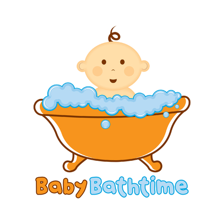Baby Bath time Logo template, Baby bathing vector illustration, Baby shower time logo Illustration