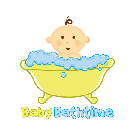 Baby Bath time template, Baby bathing vector illustration, Baby shower time