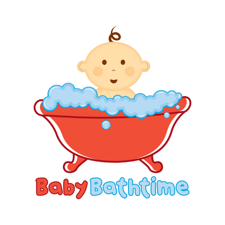 Baby Bath time Logo template, Baby bathing vector illustration, Baby shower time logo Illustration