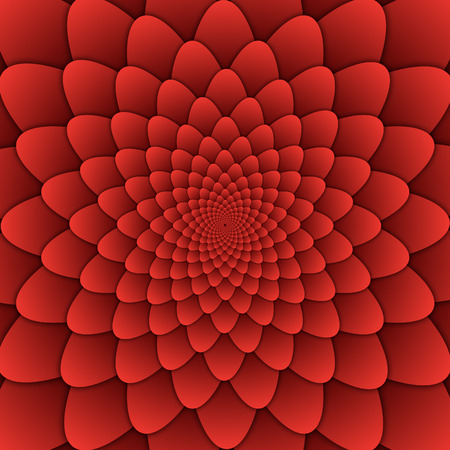 abstract flower mandala decorative pattern red background square image, illusion image pattern, background photo Stock Photo