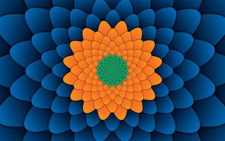 abstract flower mandala decorative pattern blue background horizontal image, illusion image pattern, background photo