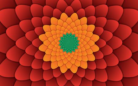 abstract flower mandala decorative pattern red background horizontal image, illusion image pattern, background photo