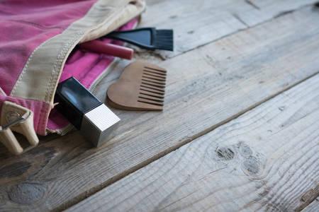 feminine background: Feminine cosmetic background. Overhead of essentials of a modern woman. Stock Photo