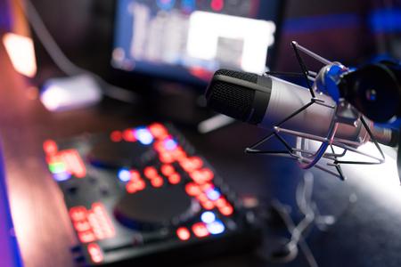 DJ equipment at night club