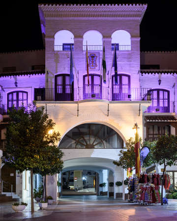 View of Nerja city hall at night. Malaga, Spain. Foto de archivo - 90742307