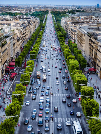 View of the Elysian fields from the top of the triumphal arch in Paris, France.
