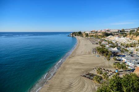 Burriana beach, Nerja, Malaga, Spain. Фото со стока