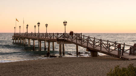 Pier of Marbella .February 11, 2018 .Marbella, Malaga, Spain.
