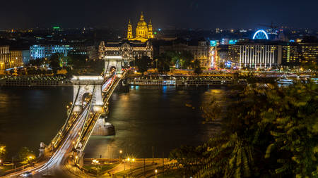 Night view of the Chain Bridge in Budapest, Hungary