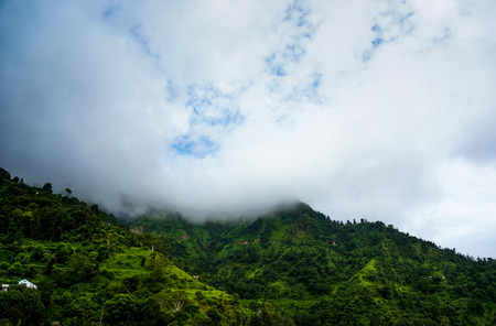 monsoon clouds: Monsoon clouds rolling over the green hills of shimla
