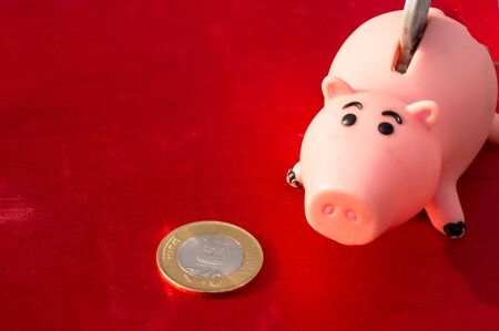 denote: Piggy bank with a 10 rupee coin, can be used to denote saving or vyign to invest your money