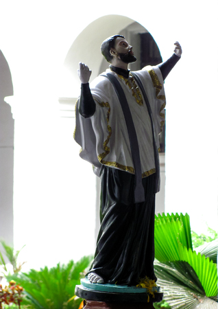 exclaiming: Statue of st  francis xavier in the Basilica of Bom Jesus in Old Goa, India