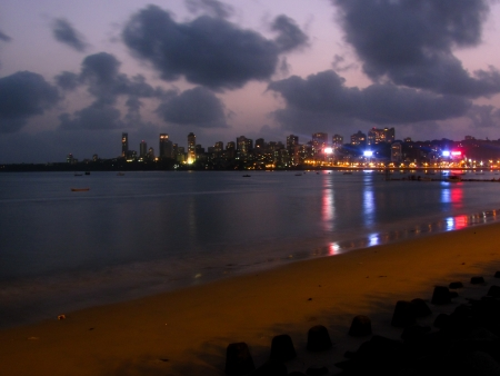 The skyline as seen from the marine drive in south mumbai  One of the more popular hangout spots of the city Stock Photo