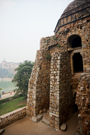 mughal architecture: The ruins of the structure at Hauz Khas village  These were old mughal architecture buildings that are currently a tourist destination