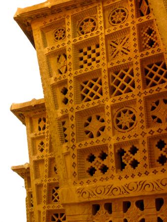 rajput: Carved sandstone gateway in jain temple in Rajasthan