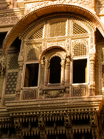 Engraved window of a rajasthani haveli (palace). These were typically made of sandstone and were beautifully engraved and decorated