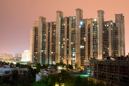 gurgaon: Highrise multistory apartments in Gurgaon India provide homes to much of the  city Editorial