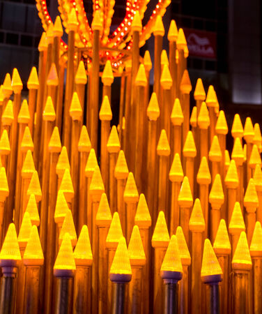 gurgaon: innovative display made of conical golden lights in Gurgaon