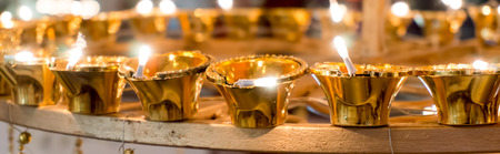 diyas: Golden electric lamps (diyas) used to decorate homes fo rthe festival of deepavali (diwali)