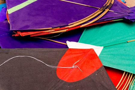 paper kites: Colorful paper kites from India used for the sport of kite fighting. These are traditionally flown on Makar Sankranti or on Republic day Stock Photo