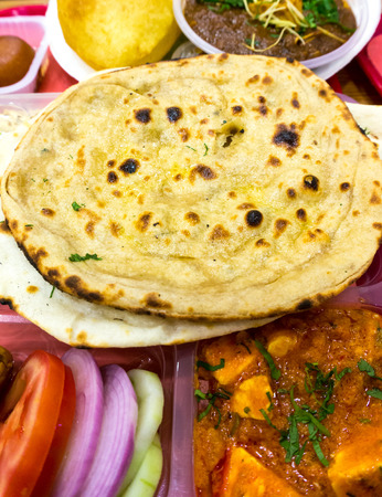 indian meal: Rice, pulses (dal), Flat bread (roti nan) served together for a typical north indian meal. Stock Photo