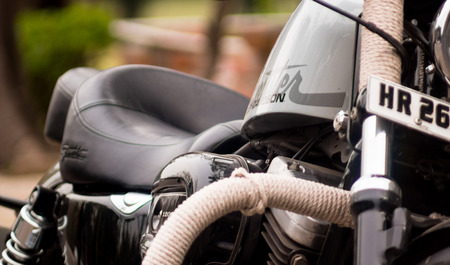 gurgaon: Gurgaon, India -14th Mar 2015: High end harley Davaidson bike with a Gurgaon registeration number. The indian bike industry is devloping a taste for high end bikes from world renowned manufacturers