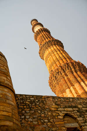 mughal architecture: Famous Qutub minar shot from a very low angle. Shows the height and splendor of the minar
