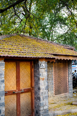 infra: Toilet for physically handicapped people in village. Infra development has lead to better facilities for the differently abled Stock Photo