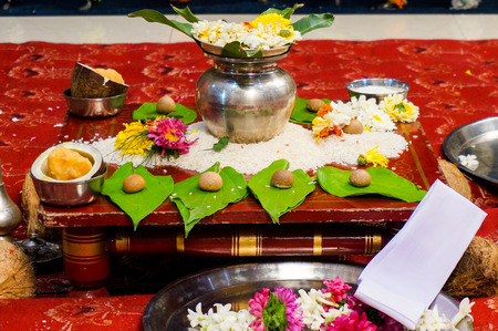 Selection of offerings given to the gods to bless an indian wedding. This usually consists of flowers, food and a fire