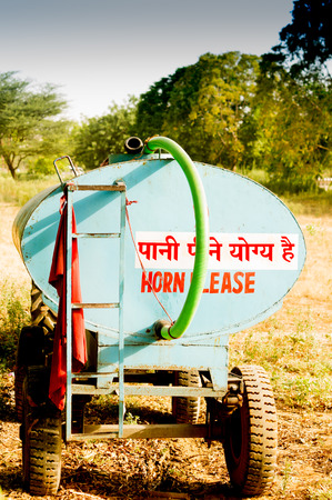 gurgaon: Water tanker used to supply drinking water to Delhi Gurgaon India. Used by households to supplement the erratic water supply