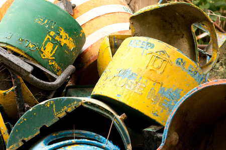 discard: Dump of unused metal garbage cans that could be reused or sent for recycling Stock Photo